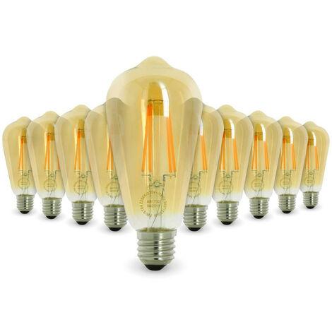 Lot de 10 AMPOULES LED E27 7W ST64 2200K Type Edison | Température de Couleur: Blanc chaud 2200K