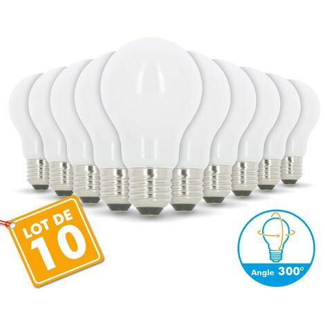 Lot de 10 Ampoules LED E27 8W eq 60W 806m verre grand angle