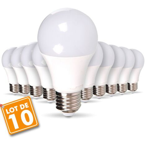 Lot de 10 Ampoules LED E27 9W eq 60W 806m Blanc Chaud
