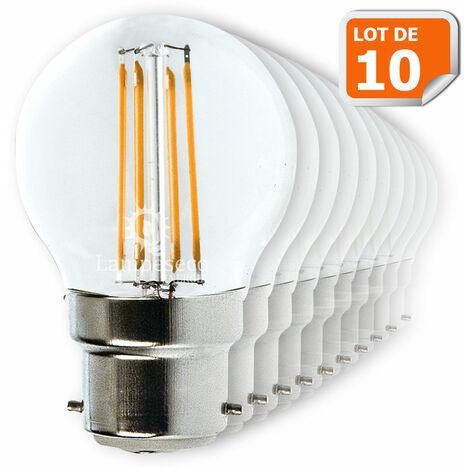 Lot de 10 Ampoules Led Filament Culot B22 forme G45 4 Watt (éq 42 watts) Blanc Chaud