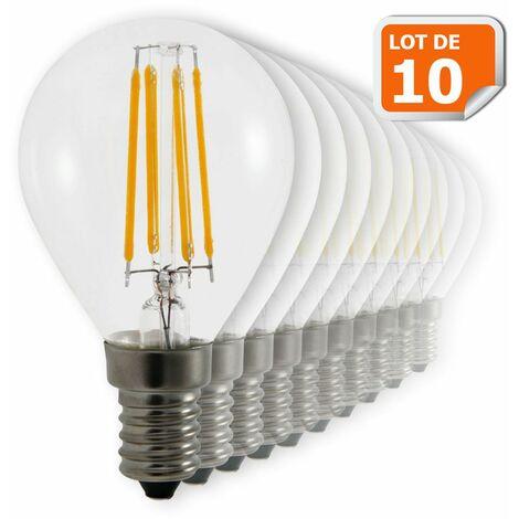 "main image of ""Lot de 10 Ampoules Led Filament Culot E14 forme G45 4 Watt (éq 42 watts) Blanc Chaud"""