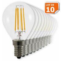 Lot de 10 Ampoules Led Filament Culot E14 forme G45 4 Watt (éq 42 watts) Blanc Chaud