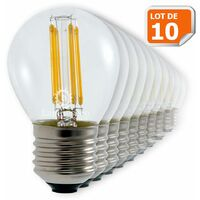 Lot de 10 Ampoules Led Filament Culot E27 forme G45 4 Watt (éq 42 watts) Blanc Chaud