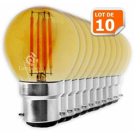 Lot de 10 Ampoules Led Filament forme G45 4 Watt (éq 42 watts) Culot B22