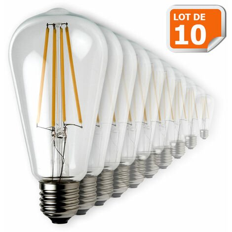 Lot de 10 Ampoules Led Filament ST64 Style Edison Teardrop 7 watt (eq.52 watt) Culot E27