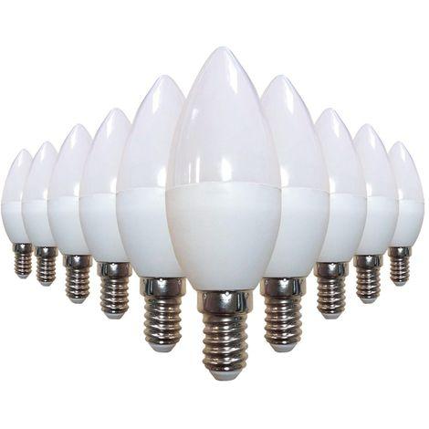 Lot de 10 ampoules LED flamme E14 4W 220V 6000k Haute Luminosité