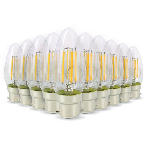 Lot de 10 Ampoules LED Flamme Filament 4w 40W Culot B22 blanc chaud 2700K