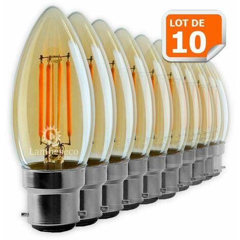 Lot de 10 Ampoules Led Flamme Filament Doré 4 watt (éq. 42 Watt) Culot B22