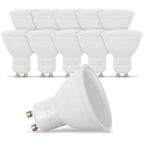 Lot de 10 Ampoules LED GU10 5W eq. 40W Blanc Chaud