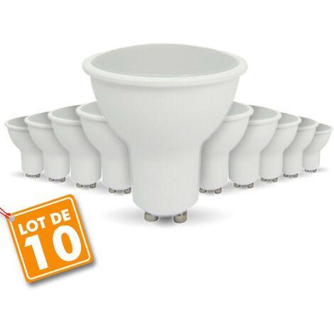 Lot de 10 Ampoules LED GU10 7W eq. 60W 2700K Blanc Chaud