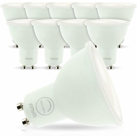 lot de 10 Ampoules Led GU10 7W eq. 60W Dimmable