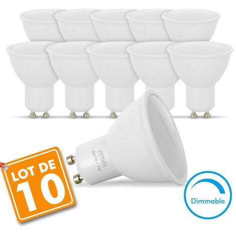 lot de 10 Ampoules Led GU10 7W eq. 60W Dimmable