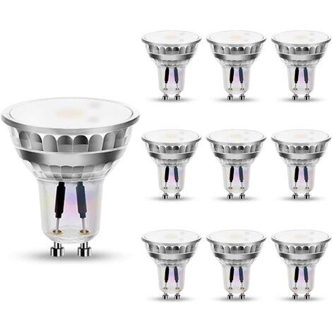 Lot de 10 ampoules LED GU10 GU10 Blanc chaud 4 W équivalent 50 W 3000 K 320 lm Angle d'éclairage 120° Intensité non variable [Classe énergétique A+]