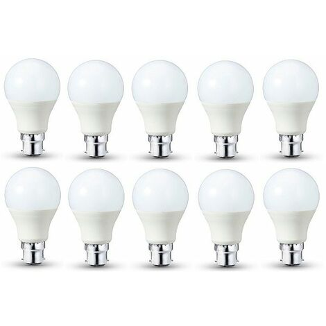 Lot De 10 Ampoules LED Standard (A60) 9W B22 - 806 LUMENS - Lumi?re Du Jour (Blanc Froid) 6000K