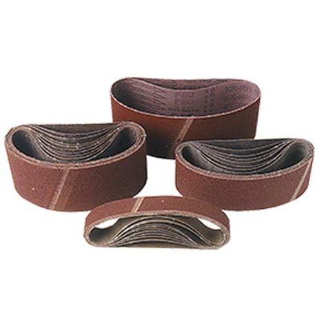 Lot de 10 bandes toile pour machine portative 75 x 510 mm Gr. 100 pour bois et métal - 75.510.100 - Leman