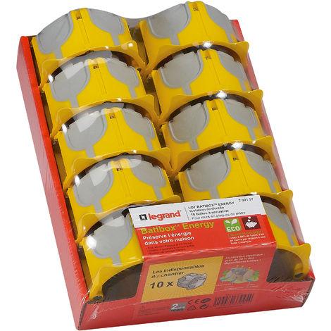 Lot de 10 boîtes à encastrer 1 poste Ecobatibox - profondeur 40mm