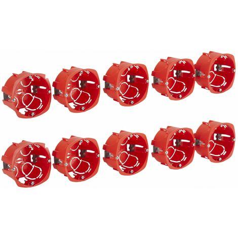 Lot de 10 boites rondes pour appareillage à griffe ou vis diam 67x40mm rouge - Debflex