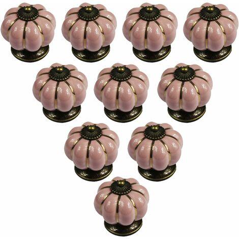 Lot de 10 boutons de meuble en céramique de style européen vintage et en forme de citrouille pour commode, armoires et tiroirs - Différentes Couleurs