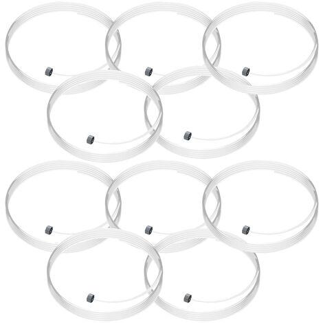 Lot de 10 câbles perlon Slider - Câble transparent pour accrochage et affichage suspendu - 200 cm
