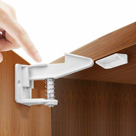 Lot de 10 cadenas de sécurité pour enfants - Sécurité invisible pour armoire et tiroir - Pour porte d'armoire, tiroir, armoire, penderie