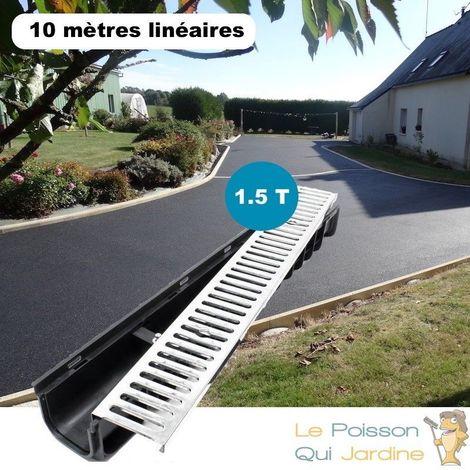 Lot de 10 : Caniveau 1 mètre 1,5 Tonnes pour drainage d'eaux usées.
