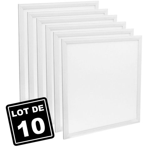 Lot de 10 Dalles Led 40W 60X60 PMMA Blanc froid 6000K Haute Luminosité