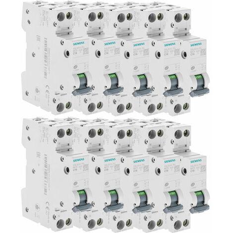 Lot de 10 Disjoncteurs électriques phase + neutre 16A - SIEMENS