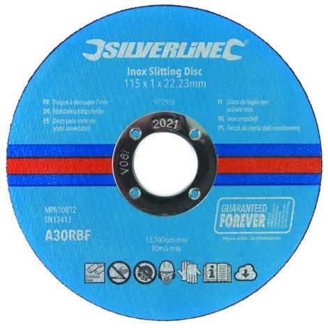 Lot de 10 disques à découper l'inox 115 x 1 x 22,23 mm