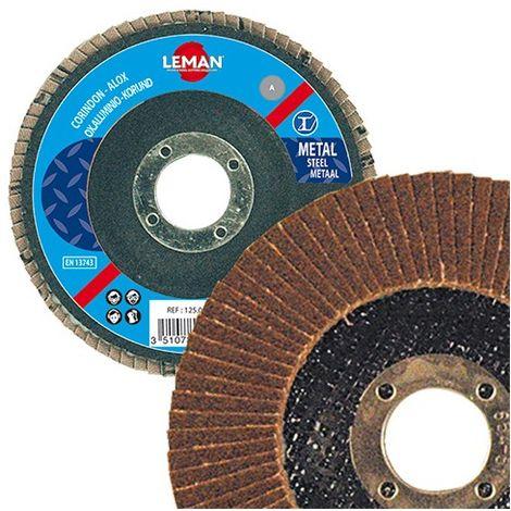 Lot de 10 disques à lamelles corindon bombés pour bois et métal - D. 125 x Al. 22,23 mm Gr. 60 - 125.060A - Leman - -