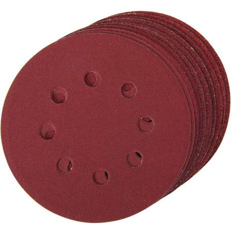 Lot de 10 disques abrasifs auto-agrippants perforés 125 mm - Grains assortis