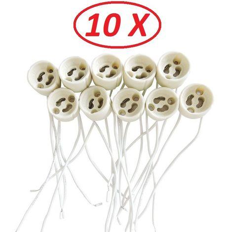 Lot de 10 Douilles Culot GU10 pour Ampoule Halogène ou Led