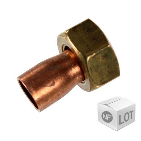 """Lot de 10 douilles droites 2 pièces 359 GCL Femelle 1/2"""" - Ø18mm"""