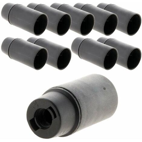 Lot de 10 douilles E14 Thermoplastique Lisse Noir