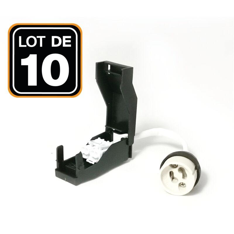10 DOUILLES GU10 AVEC DOUBLE BORNIER AUTOMATIQUE