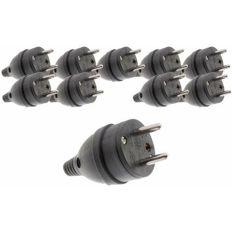 Lot de 10 fiches mâle anneau -16A 2P + T - Noir