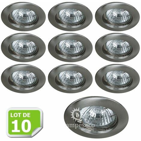 Lot de 10 Fixation de spot encastrable Classic Alu Brossé Diamètre 77mm ref. 949