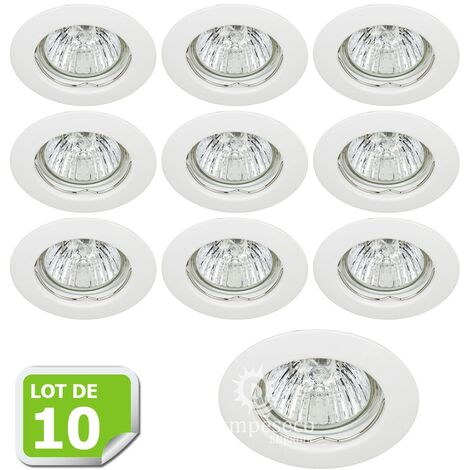 Lot de 10 Fixation de spot encastrable Classic White Diamètre 77mm ref. 932