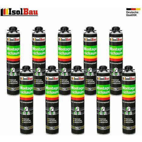 Lot de 10 flacons de 750 ml de mousse expansive monocomposant base de polyuréthane pour pistolet mousse