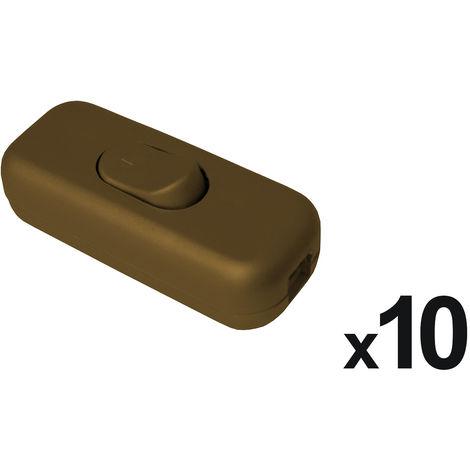 Lot de 10 interrupteurs 2A Bipolaires Or