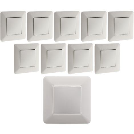 "main image of ""Lot de 10 interrupteurs Va & Vient 10A Blanc - Artezo"""