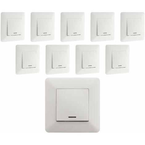 Lot de 10 interrupteurs Va & Vient à voyant 10A Blanc - Artezo