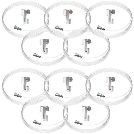 Lot de 10 kits de fixation câble perlon Twister et crochet coulissant Mini Hook : charge 4 kg - Artiteq - 0.5