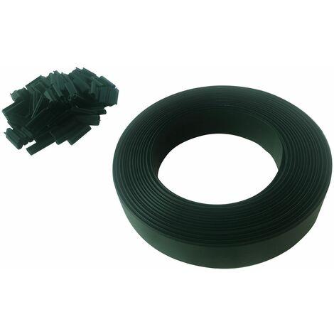 Lot de 10 Kits lamelles occultantes PVC avec clip de fixation de 50 m pour grillage rigides - Vert - Vert