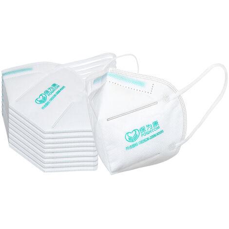 Lot De 10 Kn95 Masque 4 Couches Confortables 95% Filtration A Usage Unique Masques Kn95 Non-Tisse Masque Tissu Visage