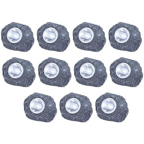 Lot de 10 lampes solaires LED en forme de pierres