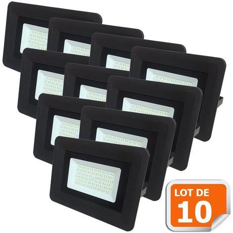 Lot de 10 LED Projecteur Lampe 100W Noir 6000K IP65 Extra Plat