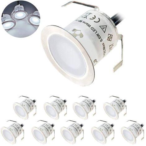 Lot de 10 Mini Spot LED Encastrable Extérieur, IP67 Étanche, Lumière Blanc du Jour 4500K, Lampe de sol 32MM 0.6W DC12V pour Chemin Terrasse Bois Piscine Escalier