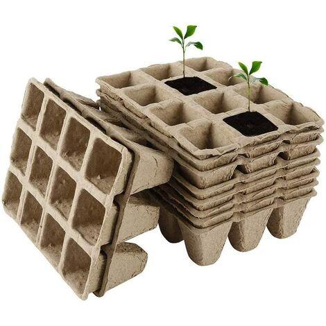 Lot de 10 Plateaux de départ de semences biodégradables, 12 Pots de Tourbe carrés avec des vallées végétales, pour Les Jardins, Les potagers, Les pépinières de Fruits, Les pépinières et Les serres