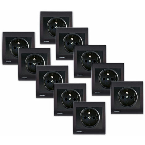 Lot de 10 Prise 2P+T Anthracite Delta Iris + Plaque Anthracite - SIEMENS