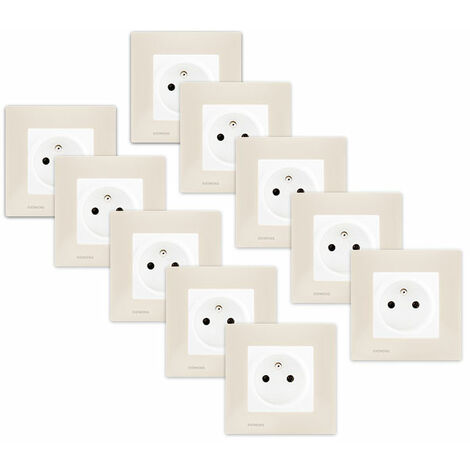 LOT de 10 Prises 2P+T Blanc Delta Viva + Plaques Beige - SIEMENS
